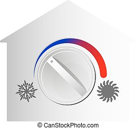 Air conditioning switch house vector