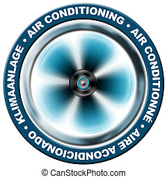 Air conditioning - Symbol air conditioning in 4 languages :...