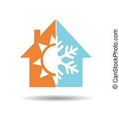 Air conditioning symbol - warm and cold in home