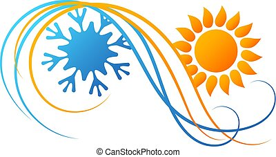 Air conditioning symbol with red and blue waves design