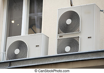 Air conditioning system on top of a building.