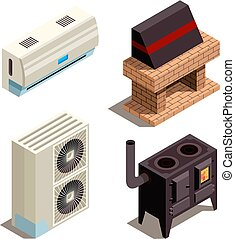 Air conditioning systems. Cooling heating generators compressor pressure pipe vector isometric collection