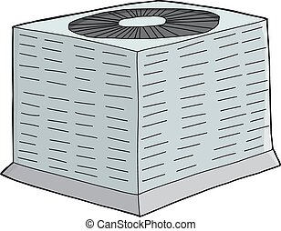 Air Conditioning Unit - Isolated single hand drawn air...