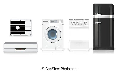 Air conditioning, washing machine, gas hob and black fridge, isolated 3D illustration with realistic shadows and reflections. Set icons of household appliances on a white background