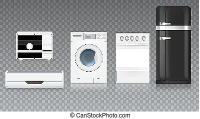Air conditioning, washing machine, gas hob and black fridge, isolated 3D illustration with realistic shadows and reflections. Set icons of household appliances on a trasparent background