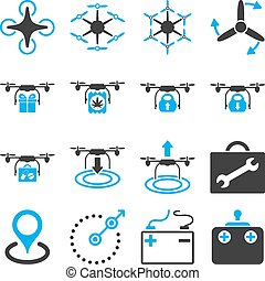 Air copter flat icon set designed with blue and gray colors....