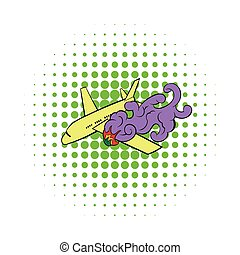 Air crash icon, comics style