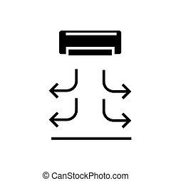 air curtain icon, vector illustration, black sign on isolated background