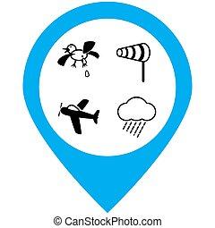 Air dangers icons set. Vector illustration.