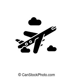 Air delivery black icon, vector sign on isolated background. Air delivery concept symbol, illustration