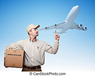 air delivery - caucasian delivery man and airplane