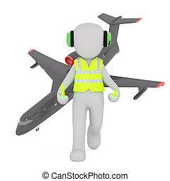 air, dessin animé, contrôleur, avion, trafic
