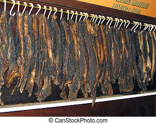 Air-Dried beef called Biltong in shop in South Africa