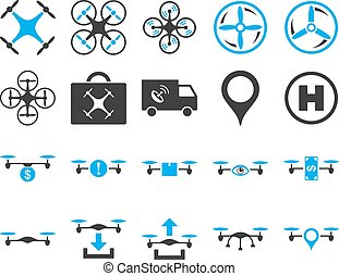 Air drone and quadcopter tool icons. Icon set style: flat...