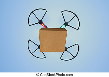 Air drone carrying carton box for fast delivery concept