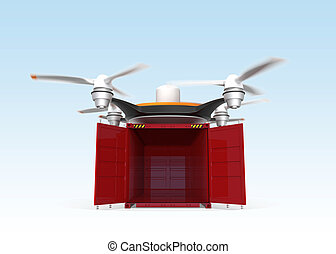 Air drone carrying empty container