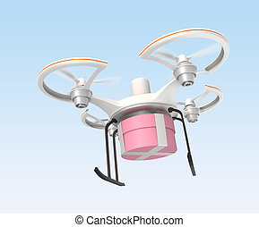 Air drone carrying gift package