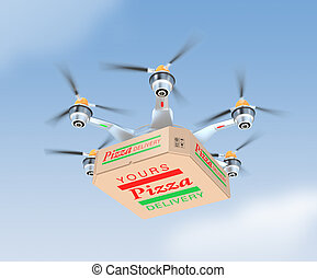 Air drone carrying single pizza box