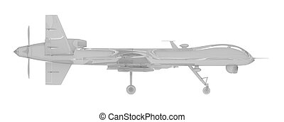 air drone side view isolated on white 3d rendering