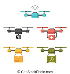 Air drone uses - Set of quadcopter aerial drones with...
