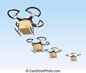 Air drone with carton package for fast delivery concept