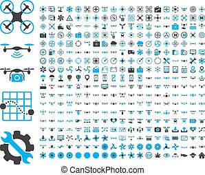 Air drones and quadcopter tools icons - 365 air drone and...