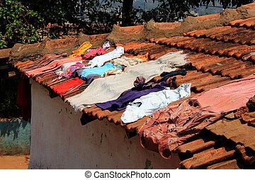 air-drying, 屋根, 衣服