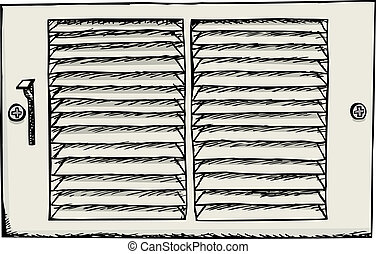 Air duct register cover for vent illustration over white
