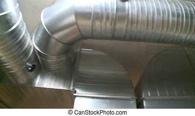 air ducts tubes in passive house. Efficient ventilation...