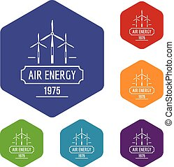 Air energy icons vector hexahedron