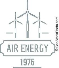 Air energy logo, simple gray style