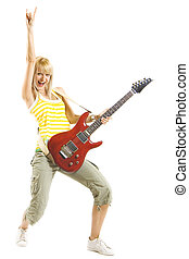 air, femme, guitariste, main