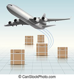 Air flight concept design, vector drawing of large cargo airplane.