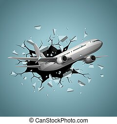 Air flight concept design, vector drawn jet airplane break through obstacles.