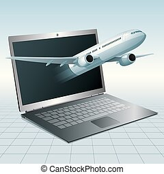 Air flight concept design, vector drawn jet airplane breakthrough laptop.