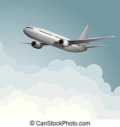 Air flight concept design, vector drawn jet airplane.