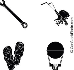 air, flight, entertainment and other web icon in black style.rubber, design, ball, icons in set collection.