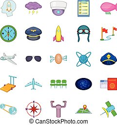 Air flight icons set, cartoon style