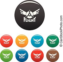 Air flight icons set color