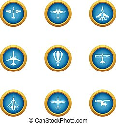 Air flight icons set, flat style