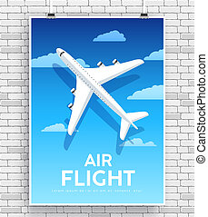 Air flight plane icon in the sky on poster