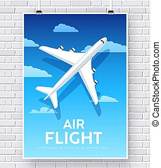Air flight plane with house home illustration concept on brick wall