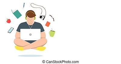 air., flotter, jeune homme, ordinateur portable