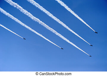 Air force aerobatic team airshow at blue impulse of japan