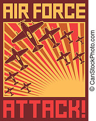 air force attack poster (vector planes, aircraft, old ...