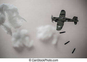 Air Force bombing in the city of the enemy in the world war, Atom bomb drop down from airplane for kill enemy of allied forces.