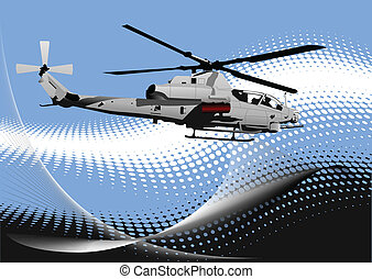 Air force. Combat helicopter on th