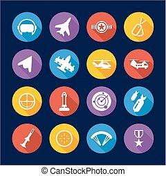 Air Force Icons Flat Design Circle
