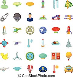 Air force icons set, cartoon style