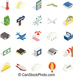 Air force icons set, isometric style